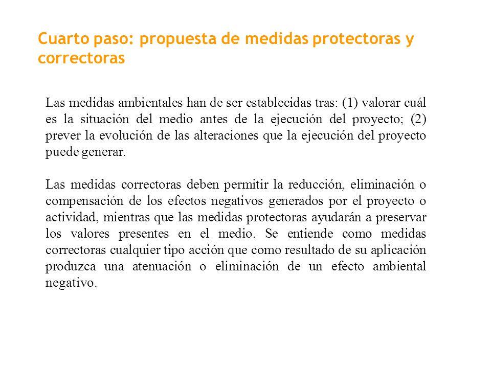 Cuarto paso: propuesta de medidas protectoras y correctoras
