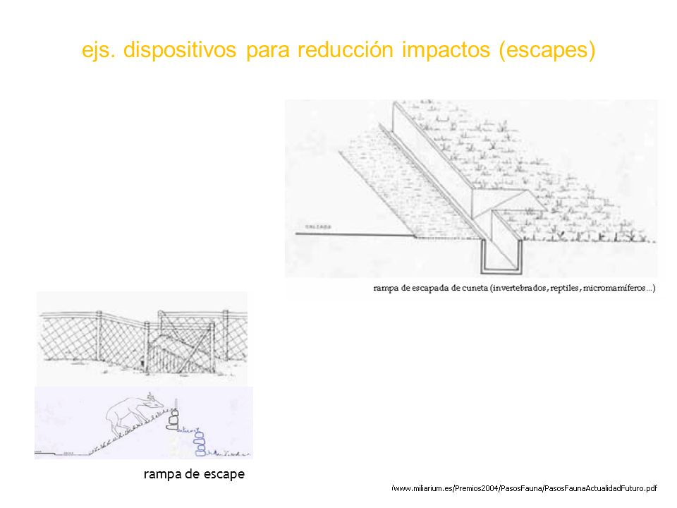 ejs. dispositivos para reducción impactos (escapes)