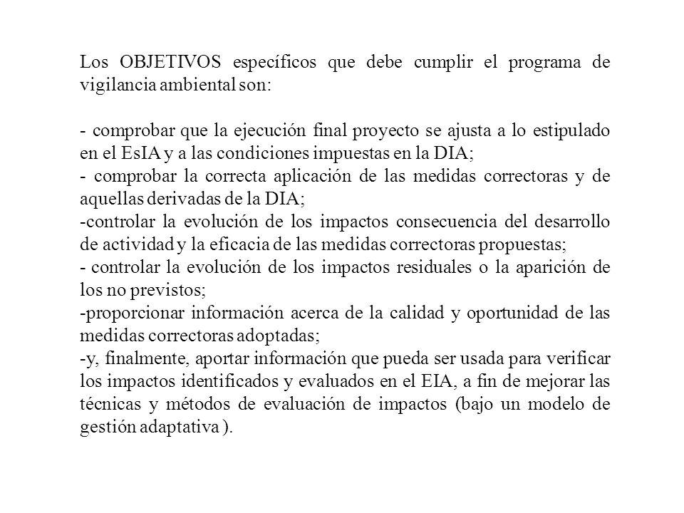 Los OBJETIVOS específicos que debe cumplir el programa de vigilancia ambiental son: