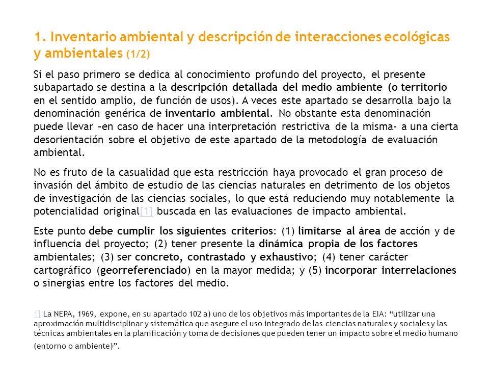 1. Inventario ambiental y descripción de interacciones ecológicas y ambientales (1/2)