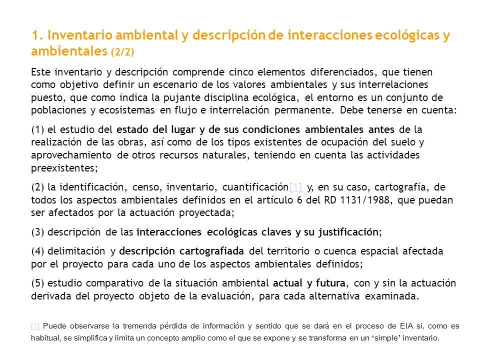 1. Inventario ambiental y descripción de interacciones ecológicas y ambientales (2/2)