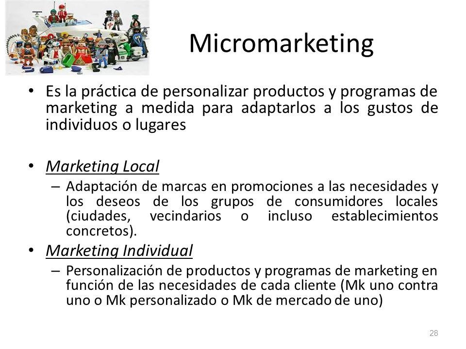 Micromarketing Es la práctica de personalizar productos y programas de marketing a medida para adaptarlos a los gustos de individuos o lugares.