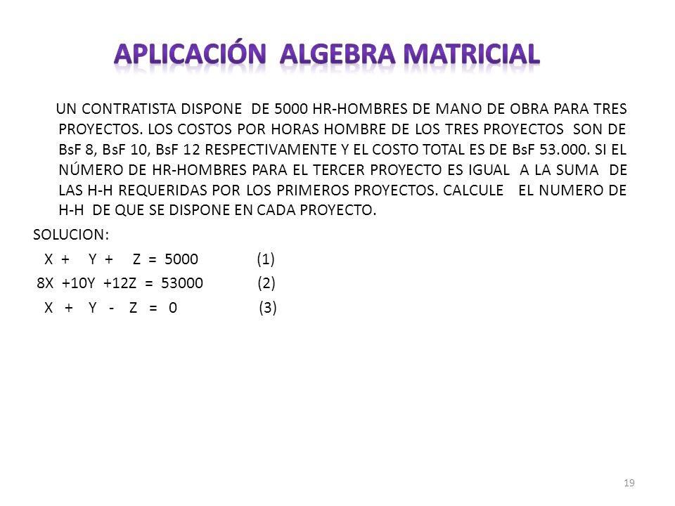 Aplicación algebra matricial