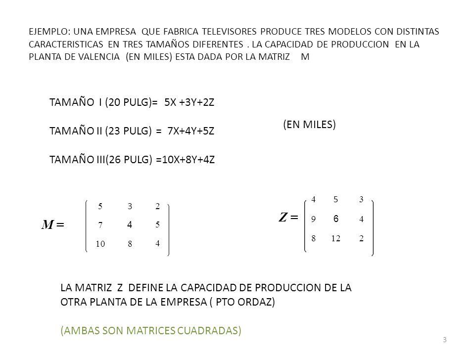 Z = M = TAMAÑO I (20 PULG)= 5X +3Y+2Z TAMAÑO II (23 PULG) = 7X+4Y+5Z
