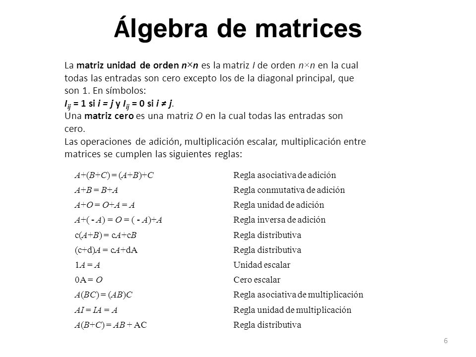 Álgebra de matrices