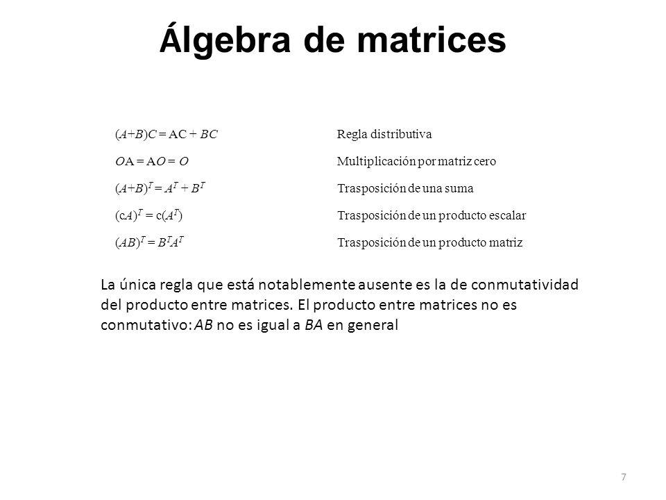 Álgebra de matrices (A+B)C = AC + BC. Regla distributiva. OA = AO = O. Multiplicación por matriz cero.