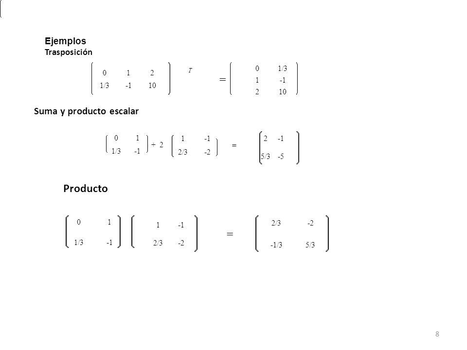 = = Producto Suma y producto escalar T Ejemplos Trasposición 1/3 1 -1