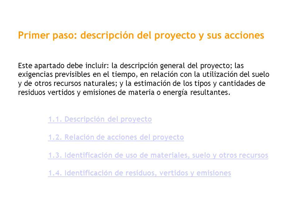 Primer paso: descripción del proyecto y sus acciones