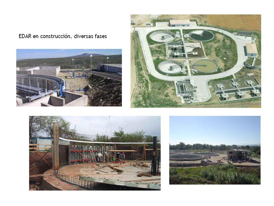 EDAR en construcción, diversas fases