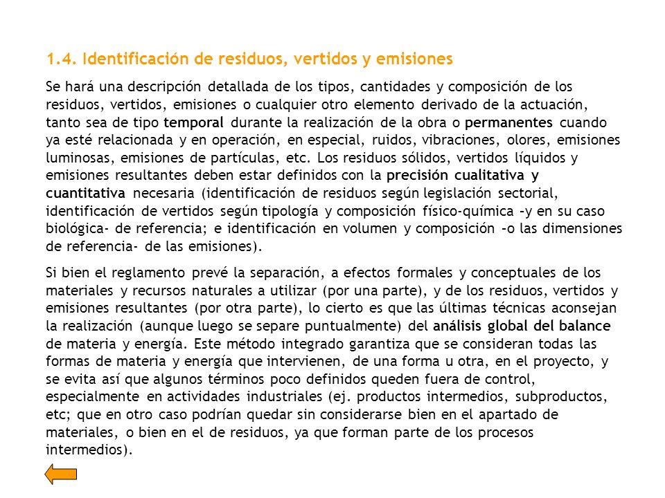 1.4. Identificación de residuos, vertidos y emisiones