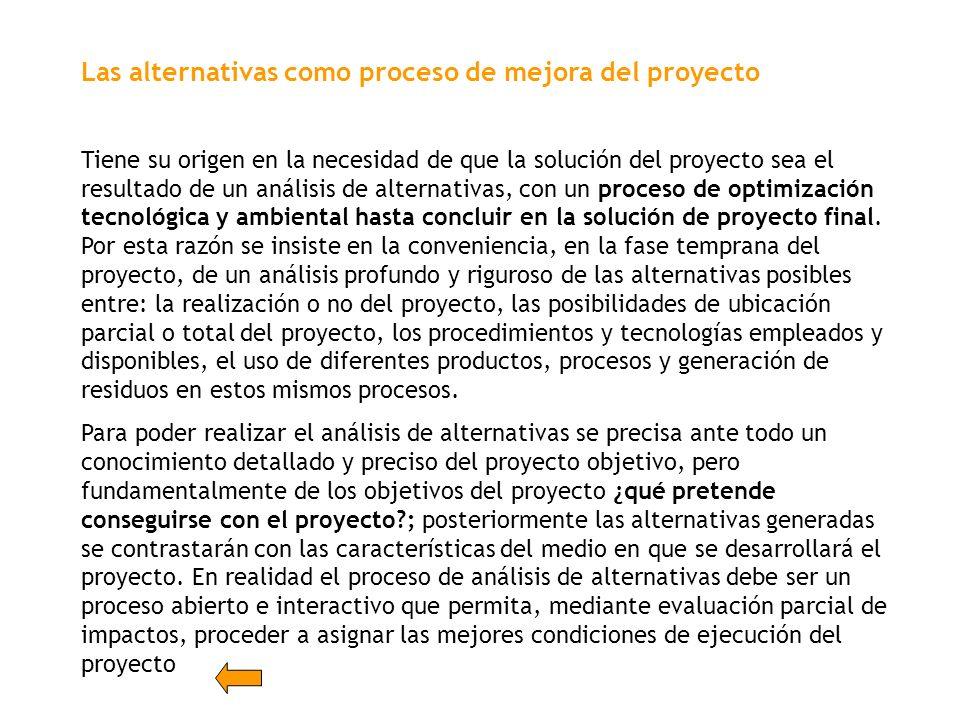 Las alternativas como proceso de mejora del proyecto