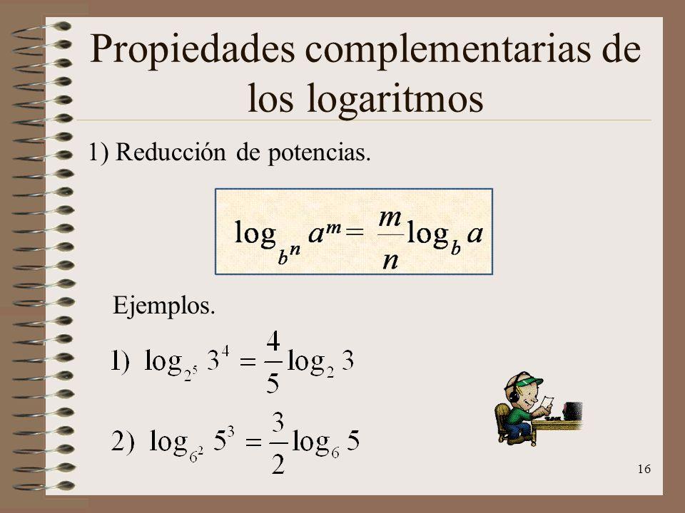 Propiedades complementarias de los logaritmos