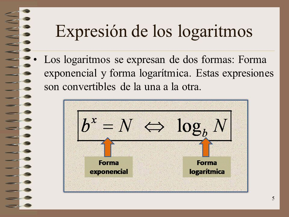 Expresión de los logaritmos