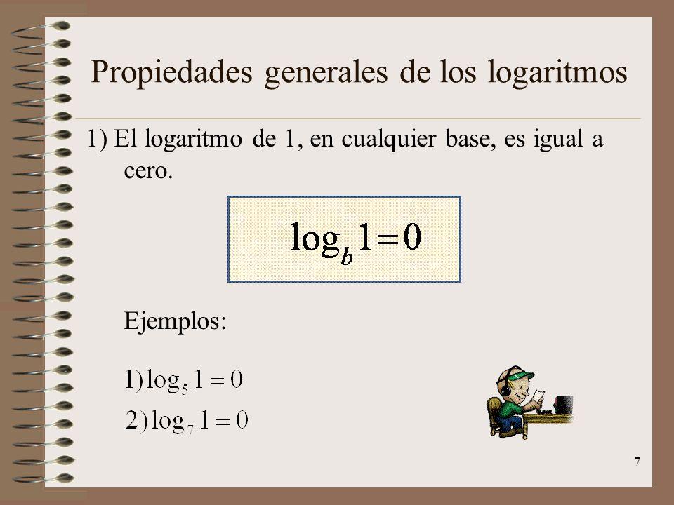 Propiedades generales de los logaritmos