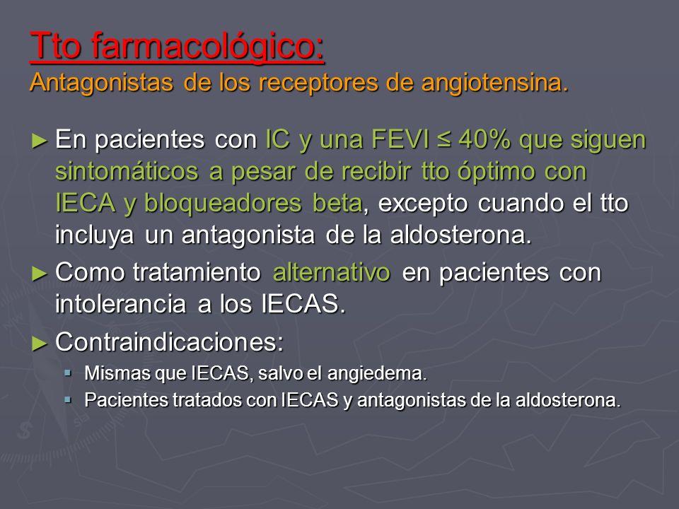 Tto farmacológico: Antagonistas de los receptores de angiotensina.