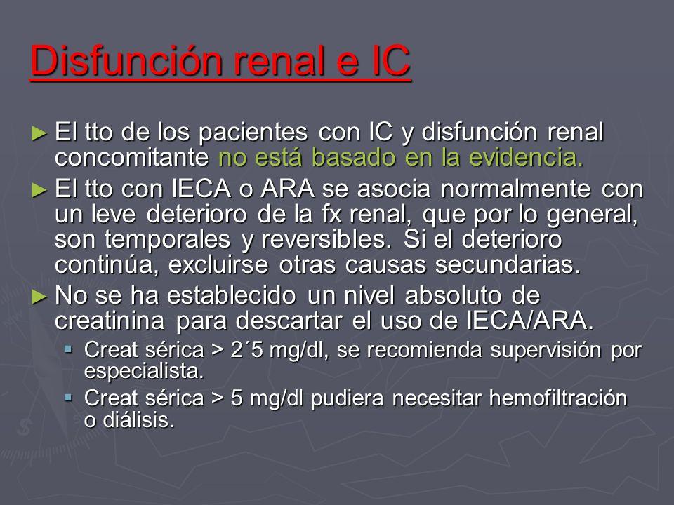 Disfunción renal e ICEl tto de los pacientes con IC y disfunción renal concomitante no está basado en la evidencia.