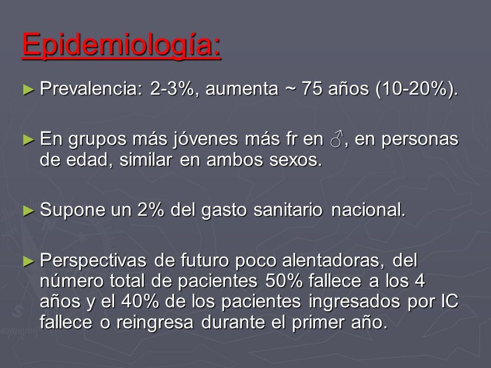 Epidemiología: Prevalencia: 2-3%, aumenta ~ 75 años (10-20%).