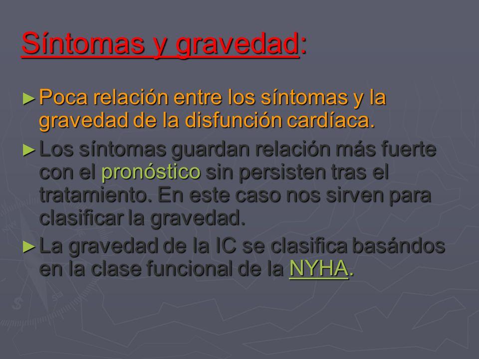 Síntomas y gravedad:Poca relación entre los síntomas y la gravedad de la disfunción cardíaca.
