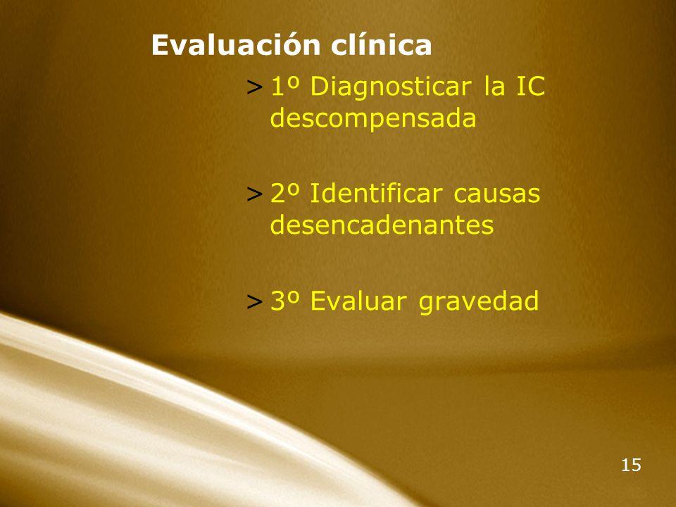 Evaluación clínica 1º Diagnosticar la IC descompensada