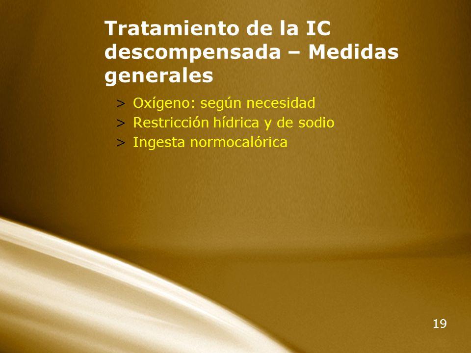 Tratamiento de la IC descompensada – Medidas generales