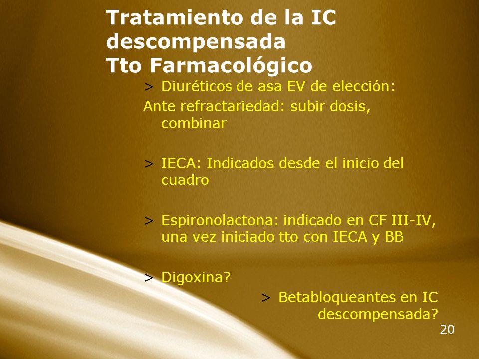 Tratamiento de la IC descompensada Tto Farmacológico
