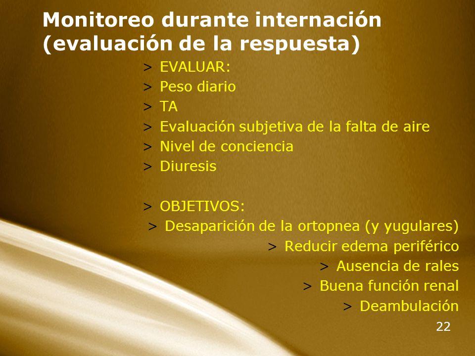 Monitoreo durante internación (evaluación de la respuesta)