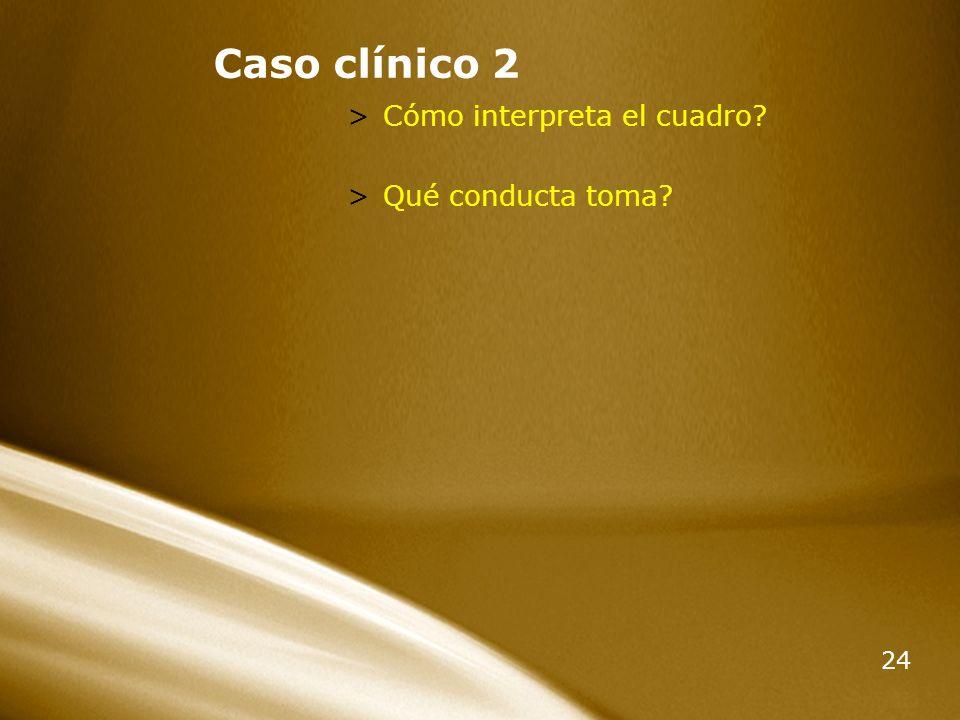 Caso clínico 2 Cómo interpreta el cuadro Qué conducta toma