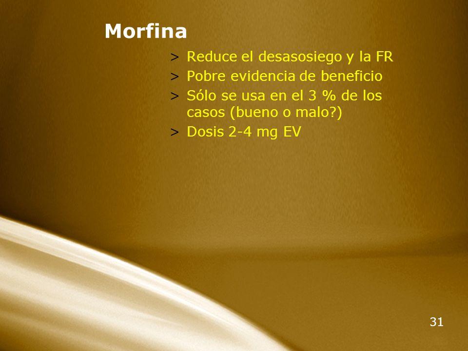 Morfina Reduce el desasosiego y la FR Pobre evidencia de beneficio
