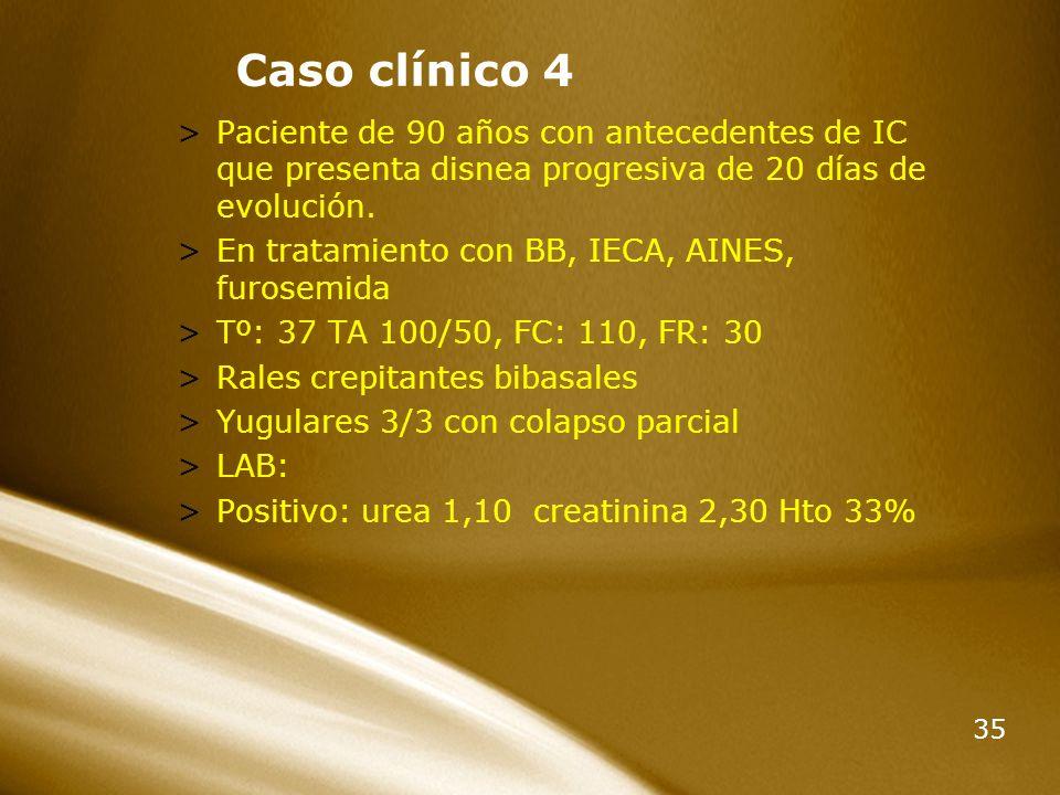 Caso clínico 4 Paciente de 90 años con antecedentes de IC que presenta disnea progresiva de 20 días de evolución.