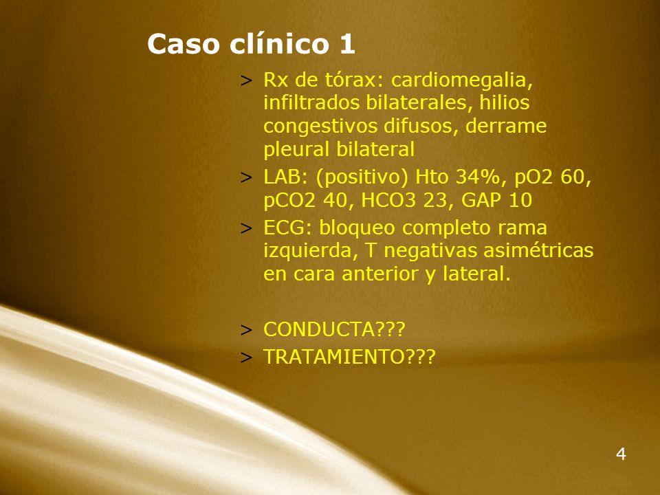 Caso clínico 1 Rx de tórax: cardiomegalia, infiltrados bilaterales, hilios congestivos difusos, derrame pleural bilateral.