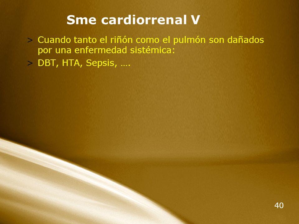 Sme cardiorrenal V Cuando tanto el riñón como el pulmón son dañados por una enfermedad sistémica: DBT, HTA, Sepsis, ….
