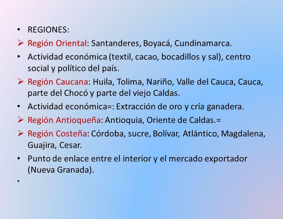 REGIONES: Región Oriental: Santanderes, Boyacá, Cundinamarca.