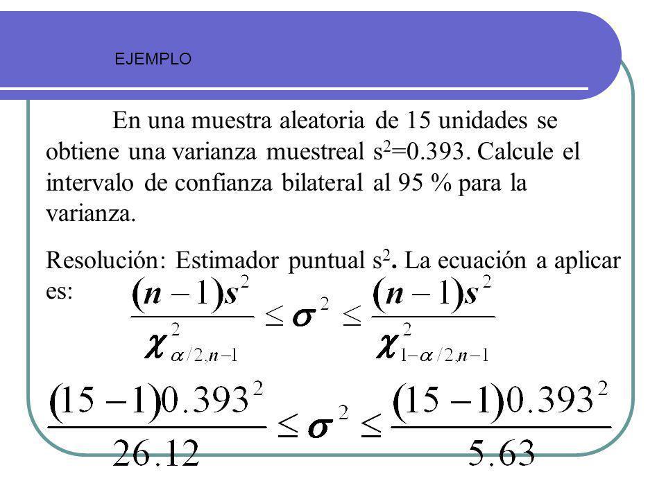 Resolución: Estimador puntual s2. La ecuación a aplicar es: