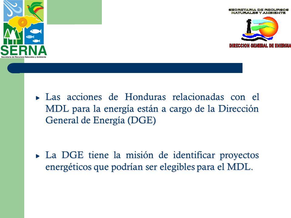 Las acciones de Honduras relacionadas con el MDL para la energía están a cargo de la Dirección General de Energía (DGE)