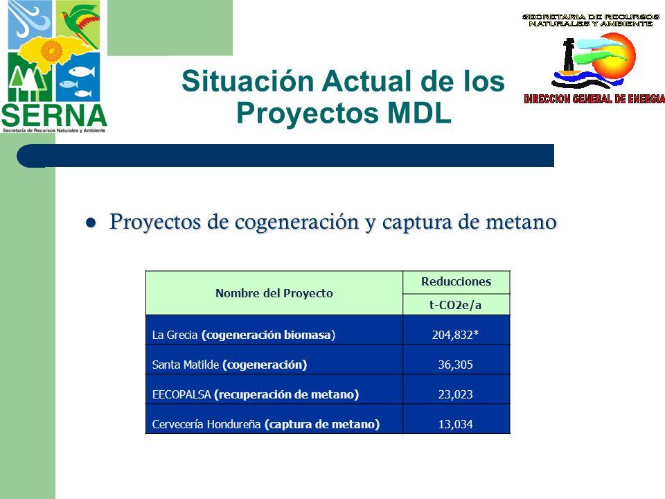 Situación Actual de los Proyectos MDL