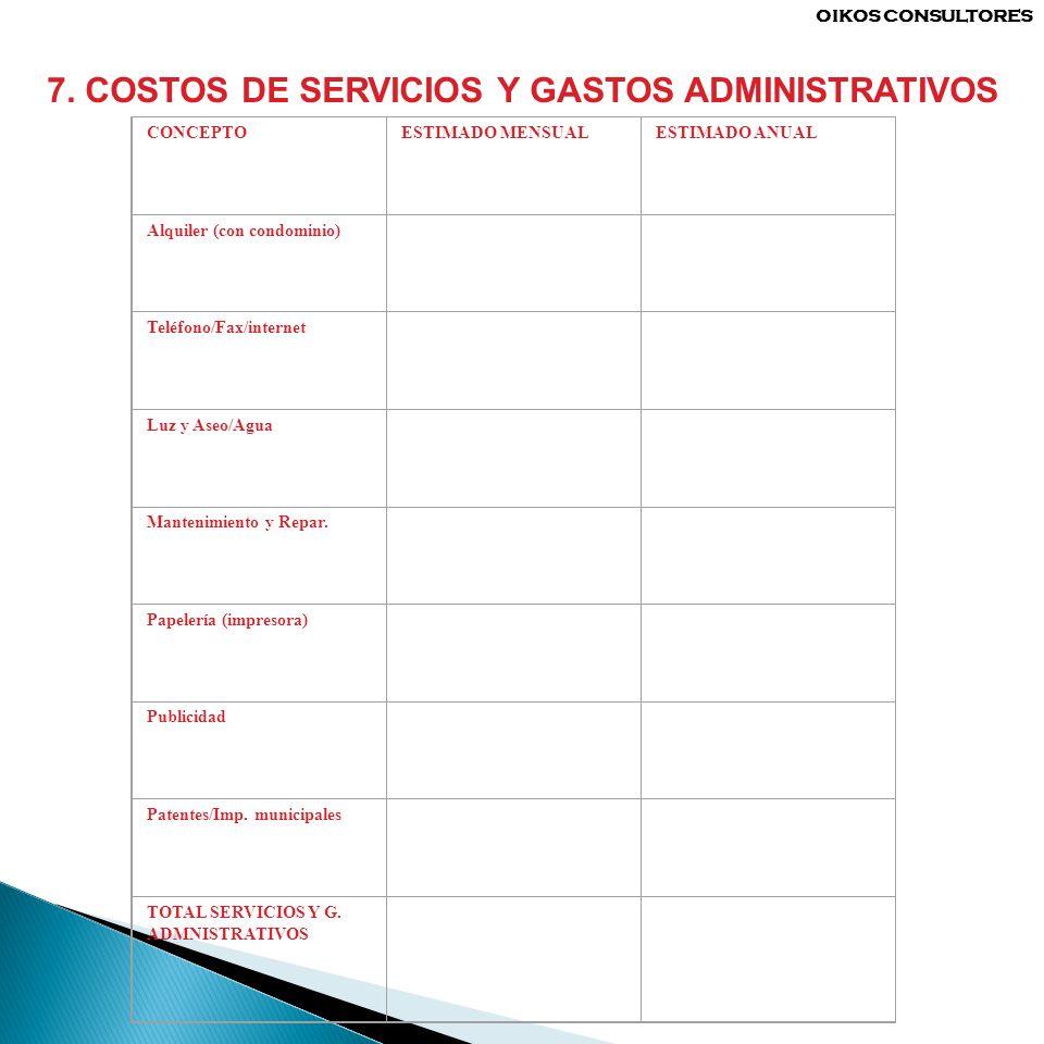 7. COSTOS DE SERVICIOS Y GASTOS ADMINISTRATIVOS