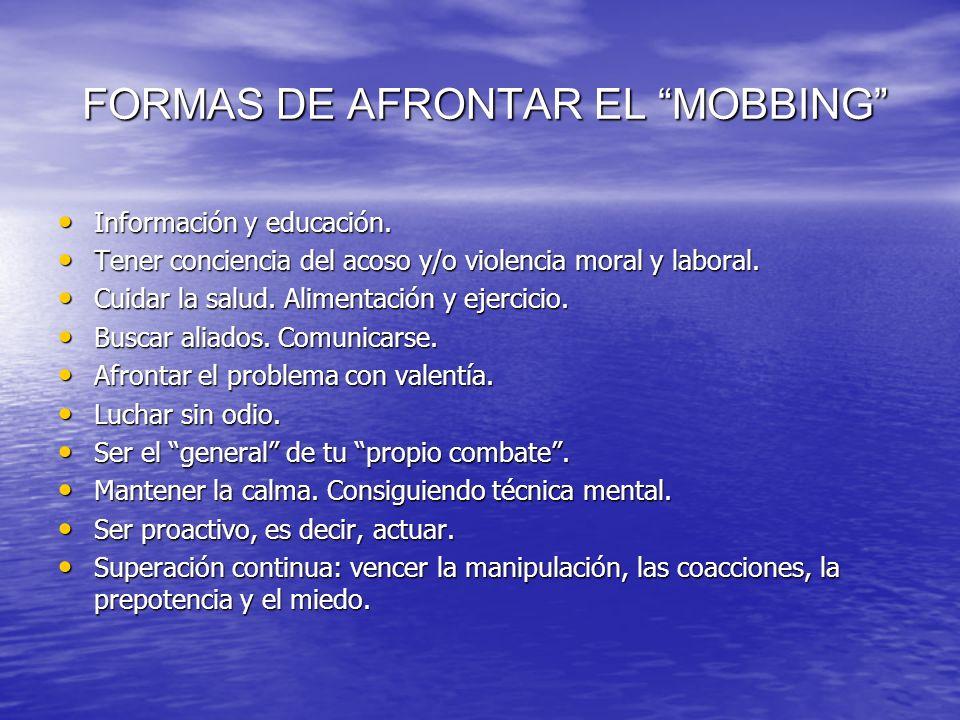 FORMAS DE AFRONTAR EL MOBBING