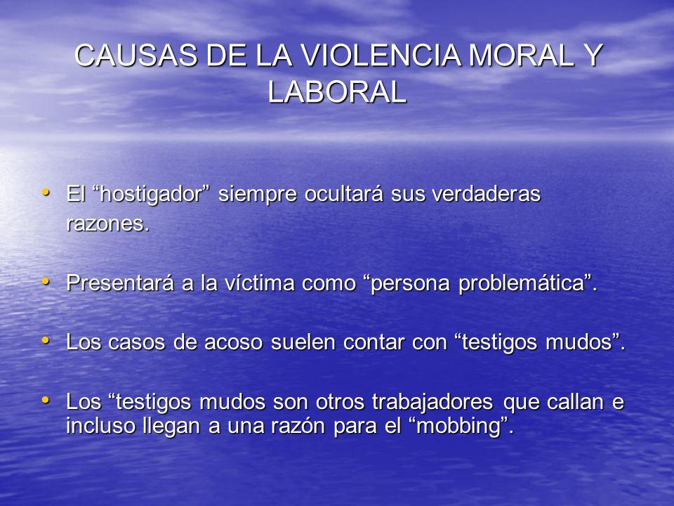 CAUSAS DE LA VIOLENCIA MORAL Y LABORAL