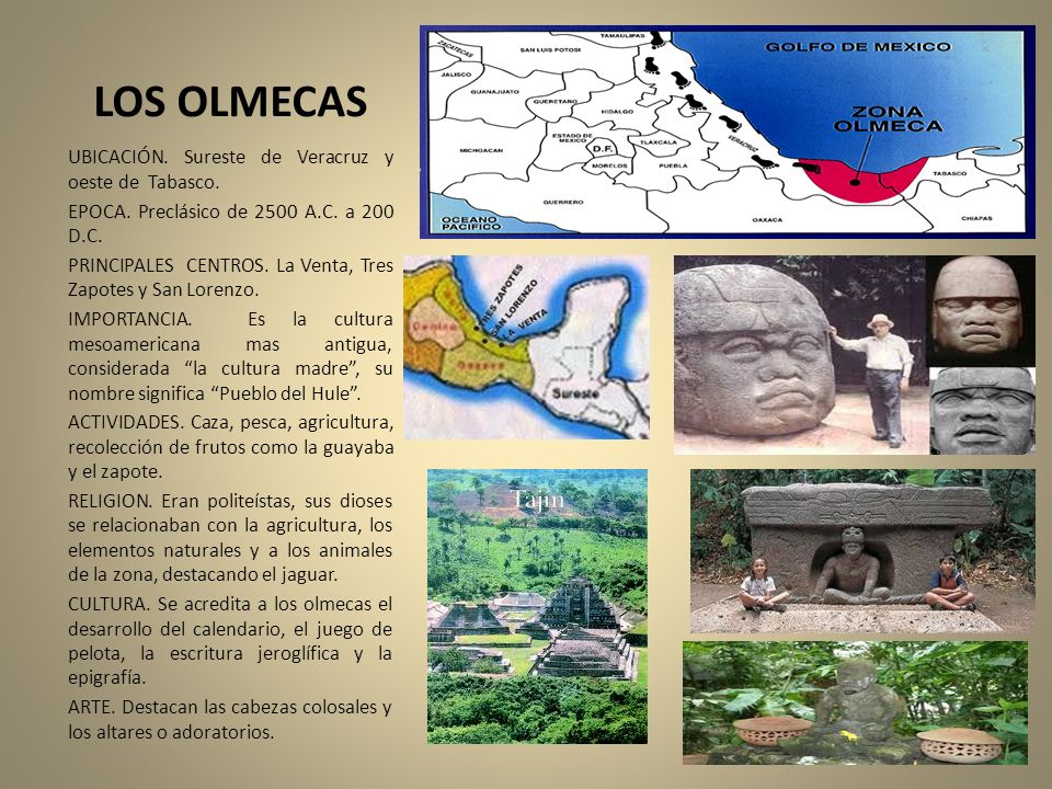 LOS OLMECAS UBICACIÓN. Sureste de Veracruz y oeste de Tabasco.