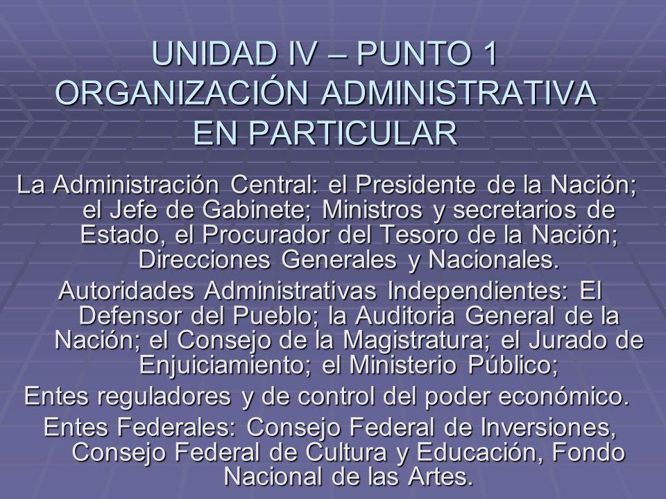 UNIDAD IV – PUNTO 1 ORGANIZACIÓN ADMINISTRATIVA EN PARTICULAR