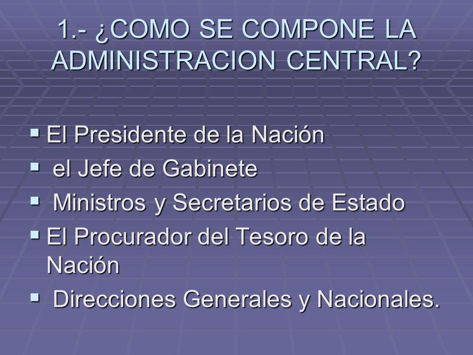 1.- ¿COMO SE COMPONE LA ADMINISTRACION CENTRAL