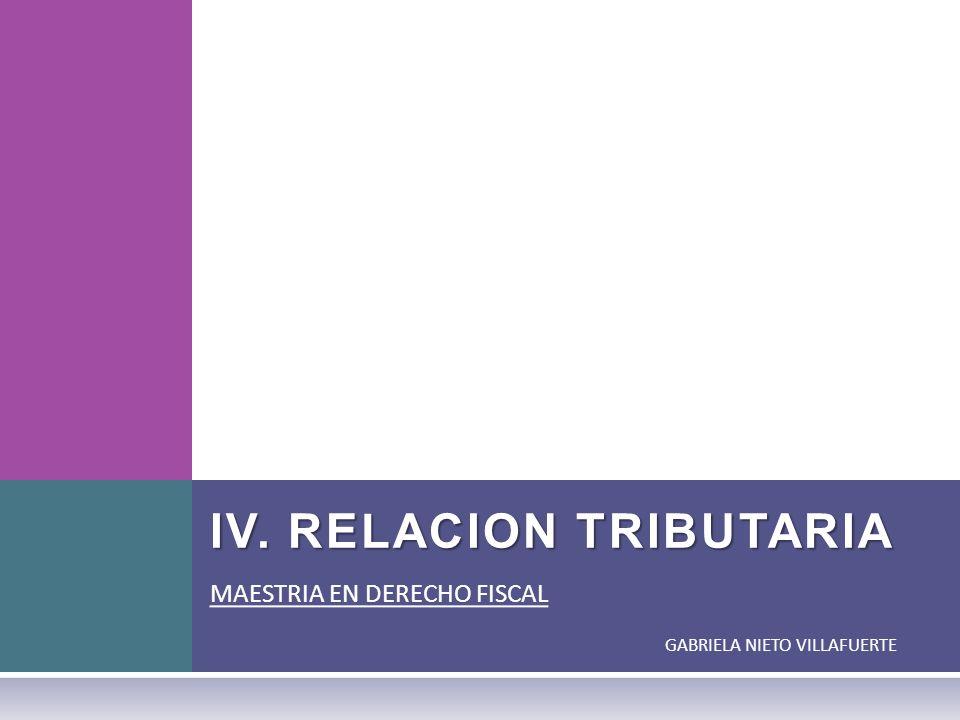 IV. RELACION TRIBUTARIA