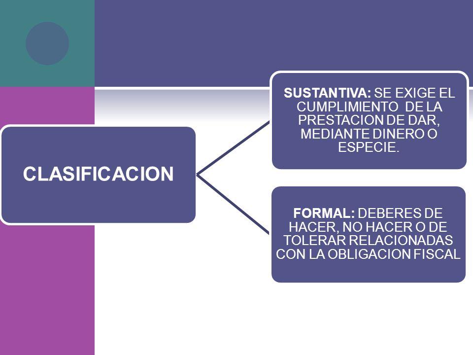 CLASIFICACION SUSTANTIVA: SE EXIGE EL CUMPLIMIENTO DE LA PRESTACION DE DAR, MEDIANTE DINERO O ESPECIE.