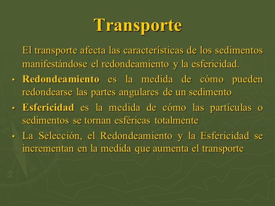 Transporte El transporte afecta las características de los sedimentos manifestándose el redondeamiento y la esfericidad.