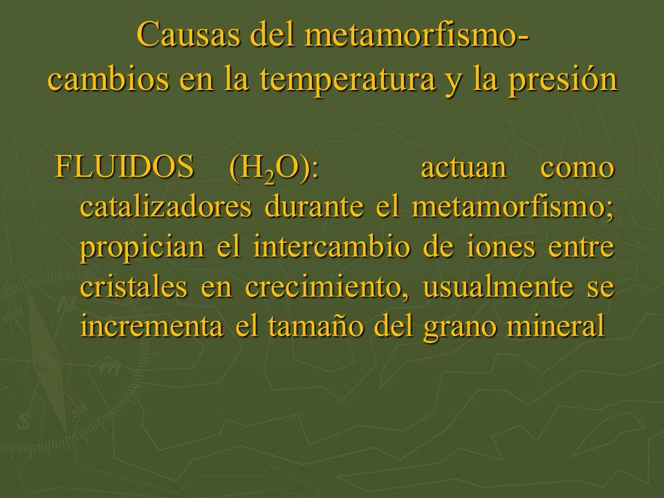 Causas del metamorfismo- cambios en la temperatura y la presión