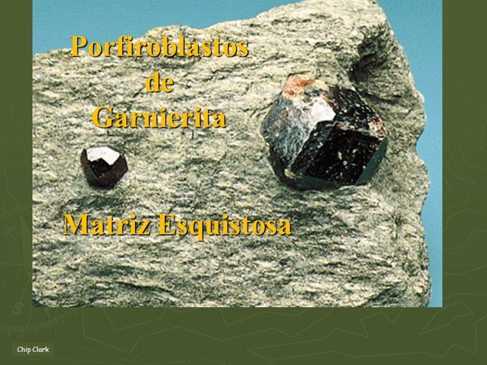 Porfiroblastos de Garnierita Matriz Esquistosa Chip Clark