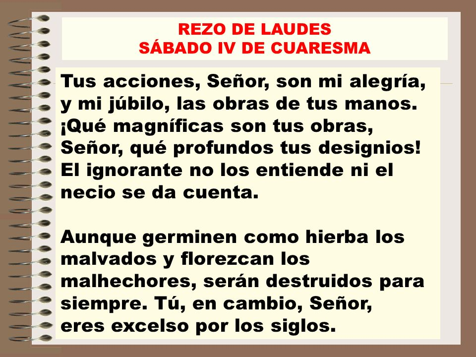 REZO DE LAUDES SÁBADO IV DE CUARESMA.