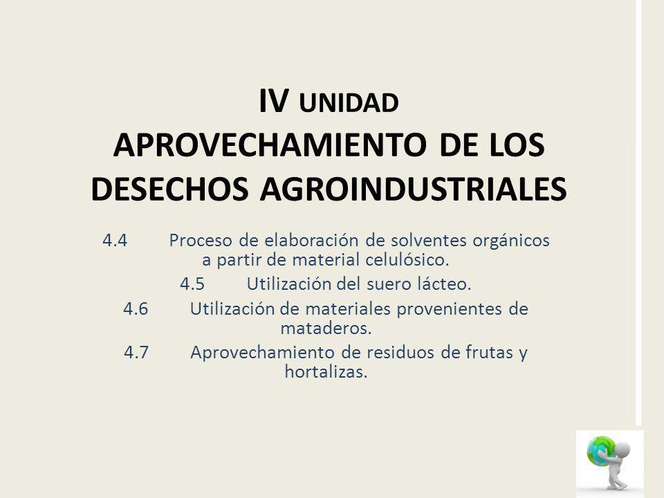 IV unidad APROVECHAMIENTO DE LOS DESECHOS AGROINDUSTRIALES