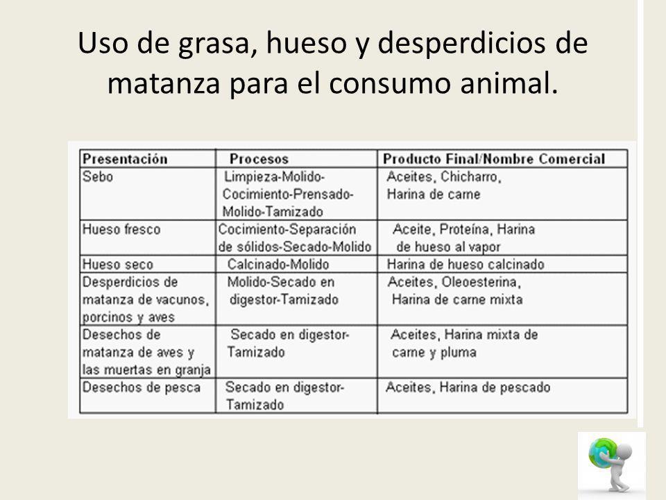 Uso de grasa, hueso y desperdicios de matanza para el consumo animal.