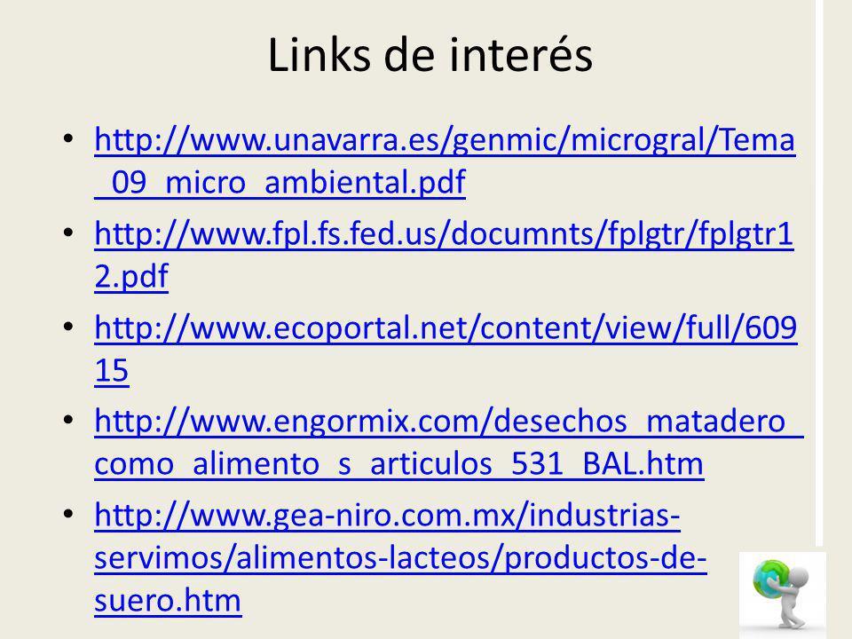 Links de interéshttp://www.unavarra.es/genmic/microgral/Tema_09_micro_ambiental.pdf. http://www.fpl.fs.fed.us/documnts/fplgtr/fplgtr12.pdf.